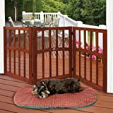 "Wooden Paw Print Accent Pet Dog Gate - Stand Alone Tri-Fold 24"" Tall 52"" Wide"