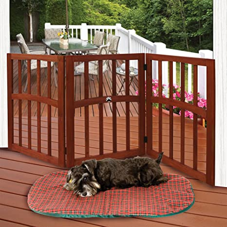 amazon com wooden paw print accent pet dog gate stand alone tri