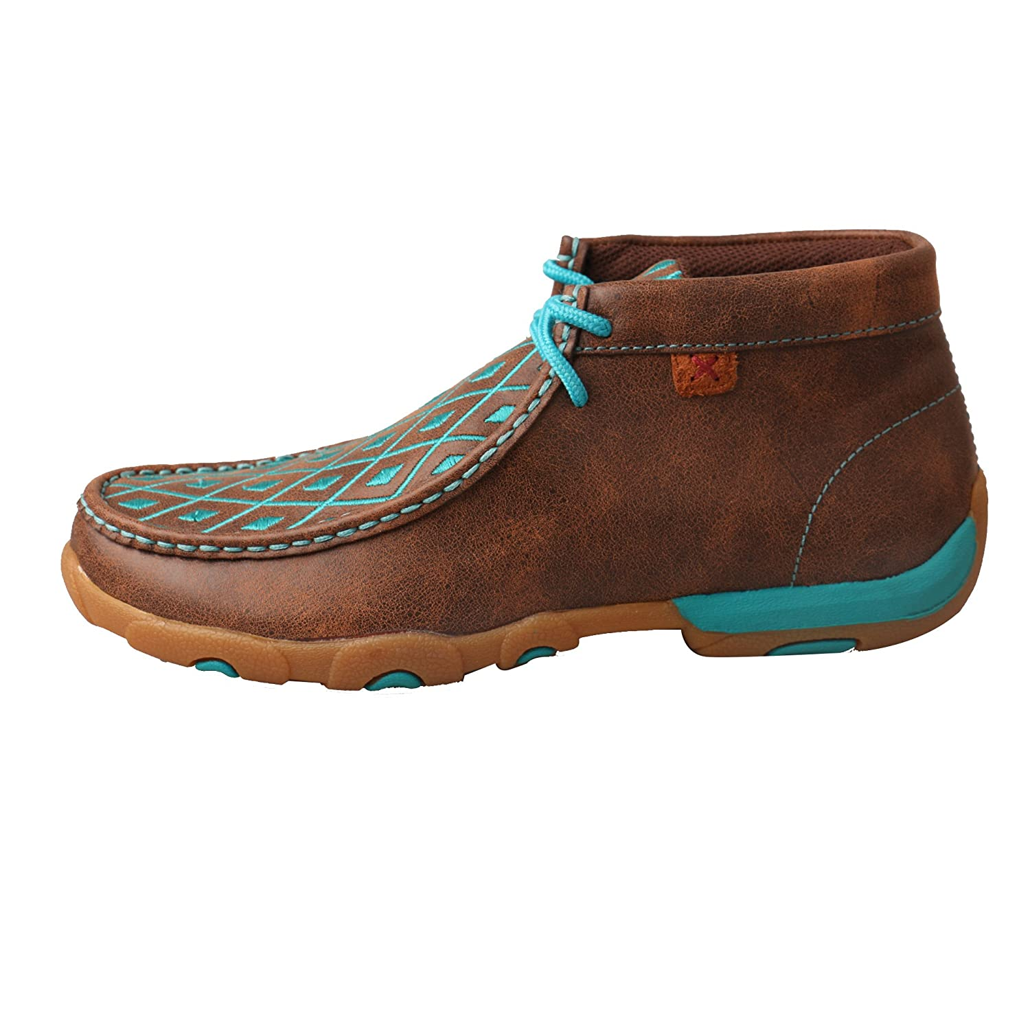 Twisted Rubber X Women's Leather Lace-up Rubber Twisted Sole Driving Moccasins - Brown/Turquoise B075K9F3KD 6.5 B(M) US|Brown/Turquoise f5ae76