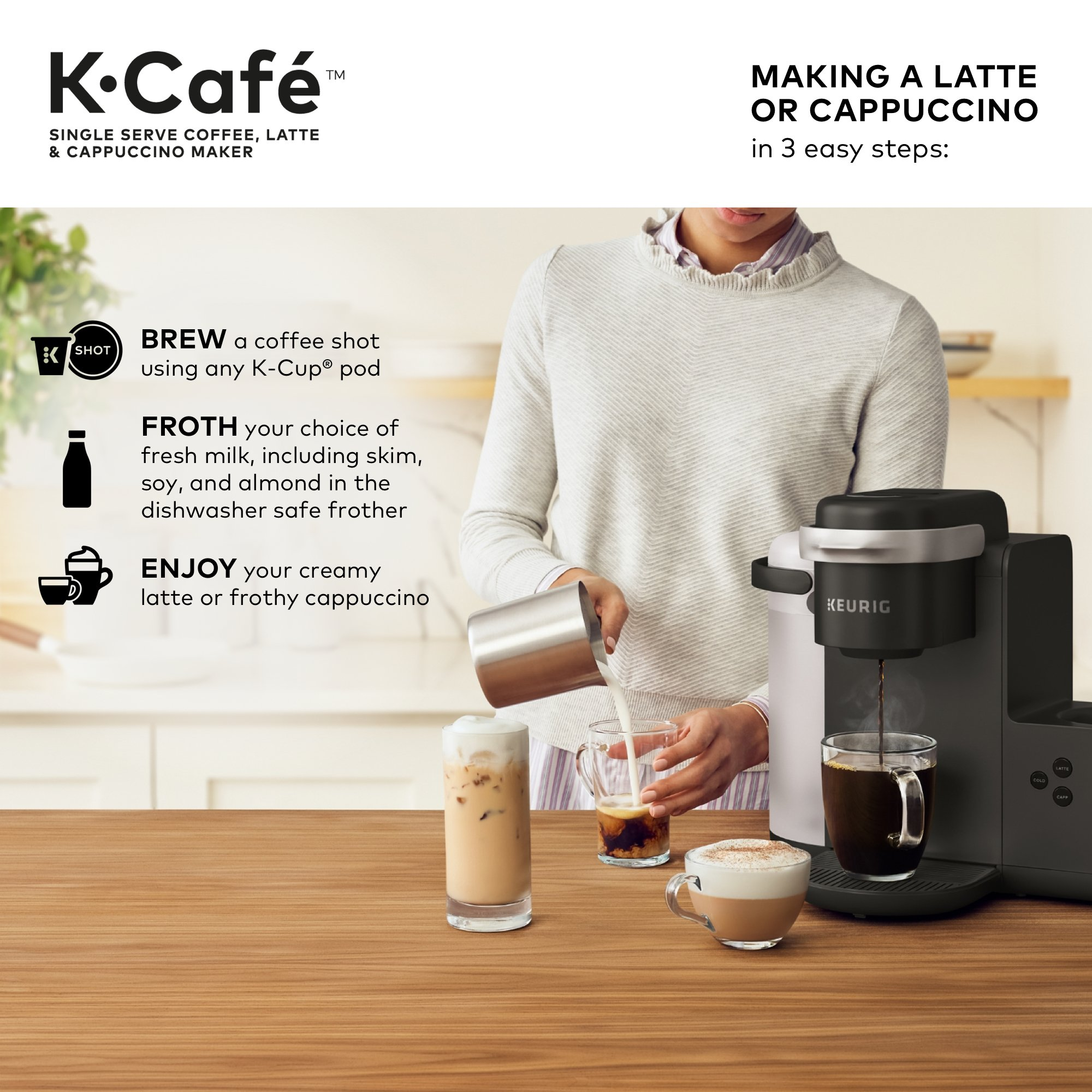 Galleon Keurig K Cafe Single Serve K Cup Coffee Maker