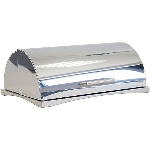 Oxid7 Panera de acero inoxidable, recipiente para el pan con tapa alzable
