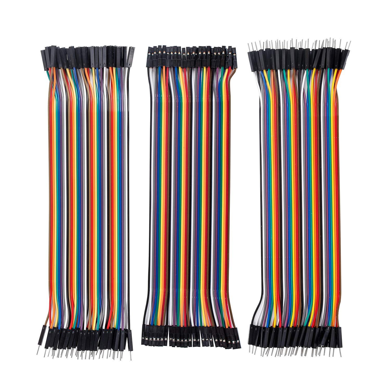 SunFounder 120pcs Breadboard Jumper Wires 20cm Dupont Cable, 40pin M to F, 40pin M to M, 40pin F to F Ribbon Cables Kit for Arduino/Raspberry Pi