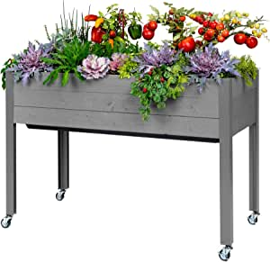 """CedarCraft Self-Watering Elevated Spruce Planter (21"""" x 47"""" x 32""""H) - The Flexibility of Container Gardening The Convenience of a self-Watering System. Grow Healthier, More Productive Plants."""