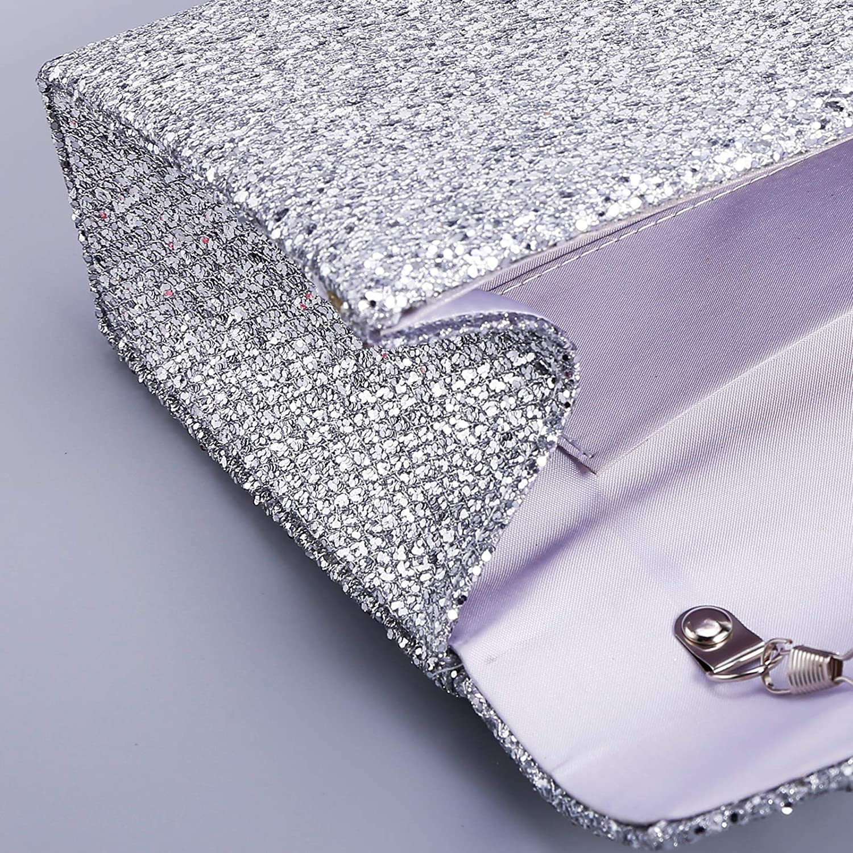 Anladia CLE DE TOUS Bolso de Mujer Noche para Banquete Embrague con Brillo Exterior Plisadas Bandolera Moldeado