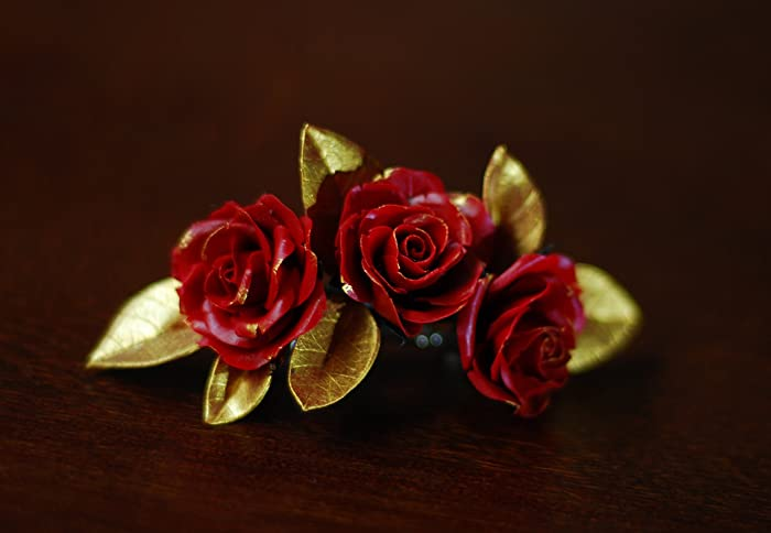 Amazon Com Gold Leaves Dark Red Three Roses Hair Clip For Wedding