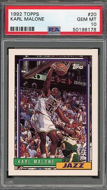 Karl Malone Utah Jazz 1992 Topps Basketball Card #20 Graded PSA 10 GEM MINT