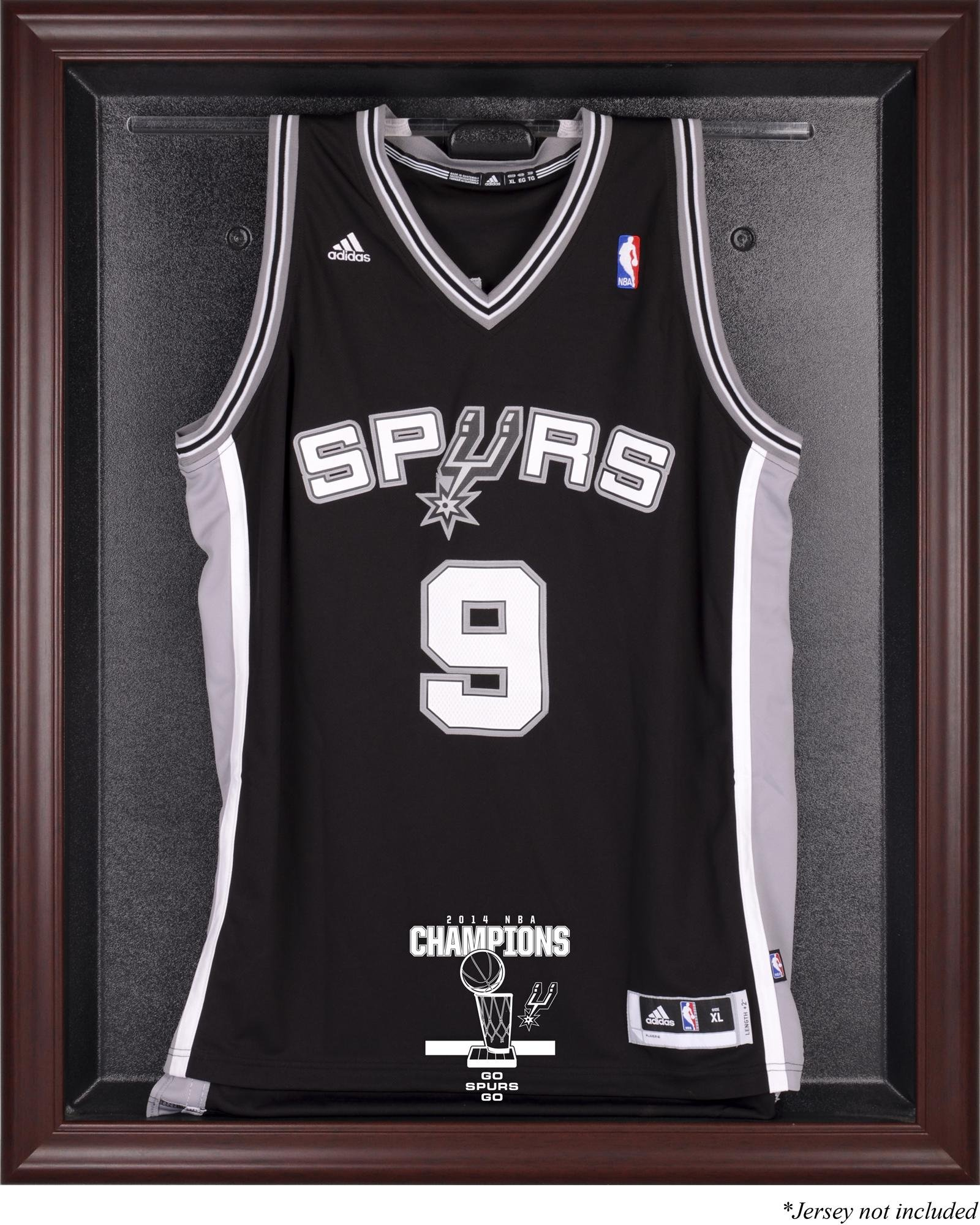 San Antonio Spurs 2014 NBA Champions Mahogany Framed Logo Jersey Case - Fanatics Authentic Certified by Sports Memorabilia