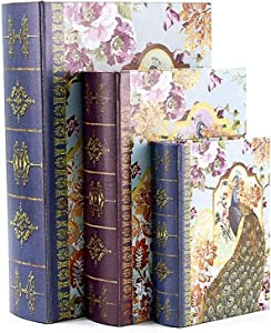 Bellaa 28014 Decorative Book Box Peacock Antique Book Invisible Box Set of 3 Keepsake Storage Memory Book Box High Ideal Gift for Wedding Memories Jewelry Trinket Hobby Cash Pill Polish Gifts
