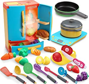 JOYIN 20 Pieces Refrigerator Pretend Play Appliance Toy Kitchen Cookware Playset with Induction, Frying Pan, Cooking Pot, Cutting Food Toy and Toy Utensils