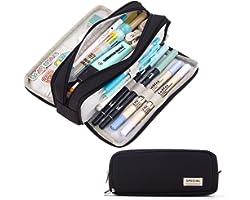 CICIMELON Large Capacity Pencil Case 3 Compartment Pouch Pen Bag for School Teen Girl Boy Men Women (Black)