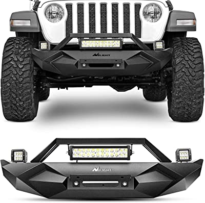 Nilight Front Bumper w/Winch Plate, 72W Nilight LED light bar