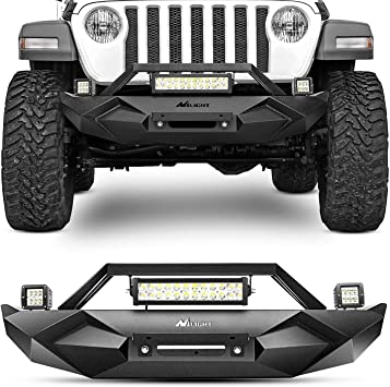 Black Textured Angry Front Bumper+Work Lights Bracket For Jeep Wrangler JK 07-18