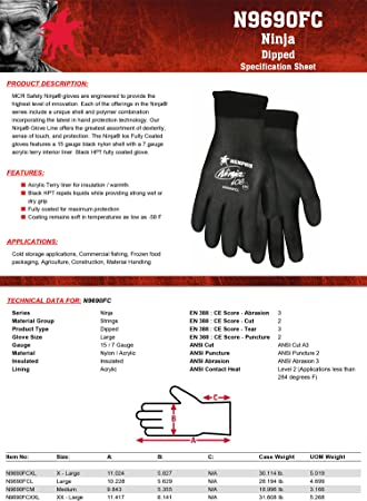 Memphis Glove N9690FCM Ninja Ice FC Nylon Back Double Layer Gloves with Full Dipped HPT Coating, Black, Medium, 1-Pair