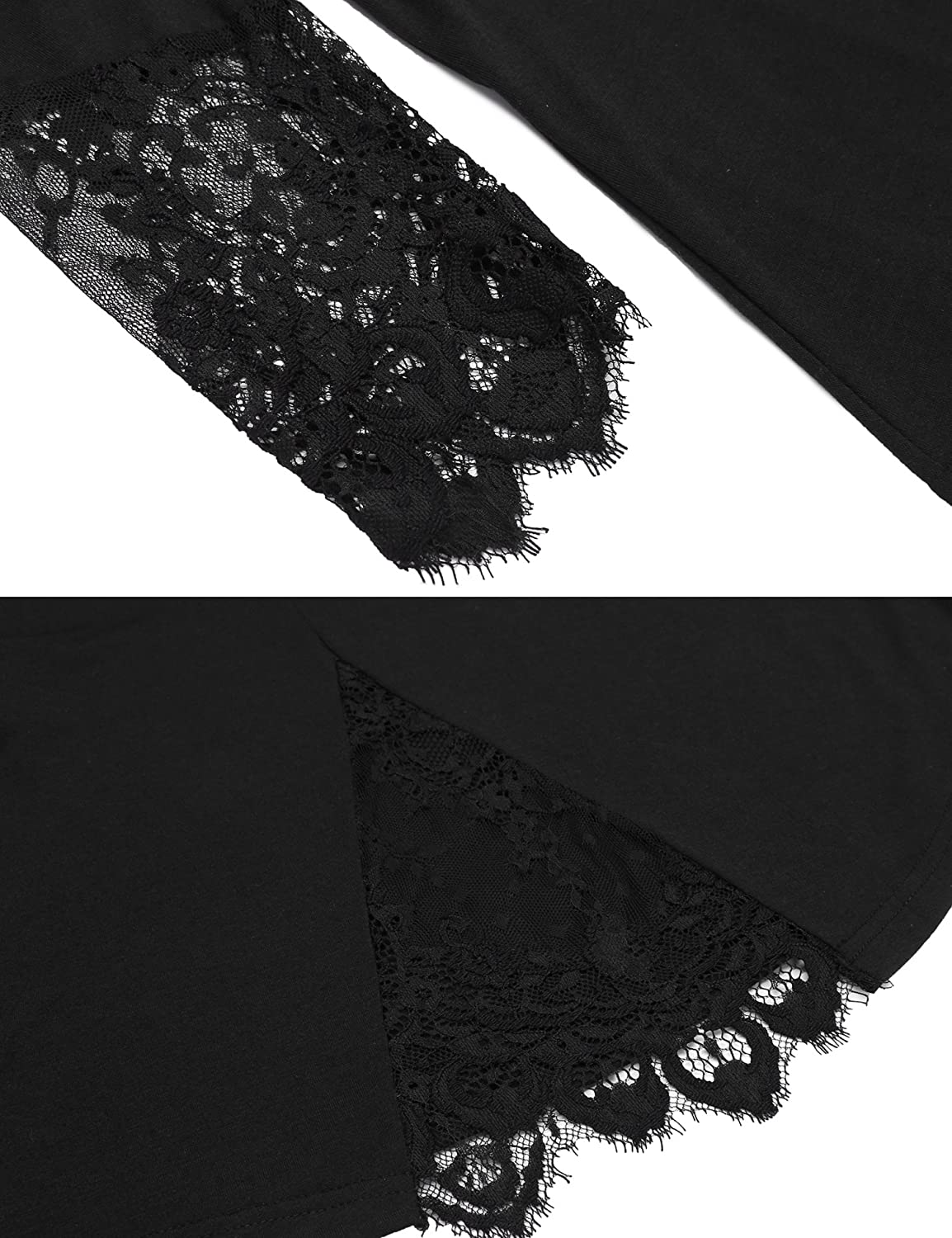 4c5137ed0 Meaneor Womens Loose Tops O Neck Slit Back Lace Patchwork Henley ...