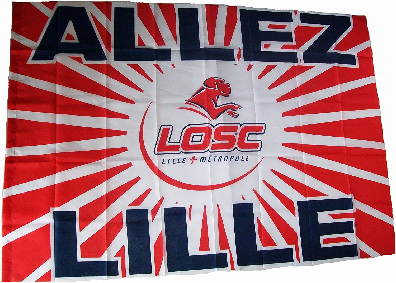 Collection officielle LOSC Taille 100 X 150 cm Lille Olympique M/étropole LILLE OLYMPIQUE SPORTING CLUB Drapeau Logo Maillot Football Club Ligue 1 Supporter Dogues