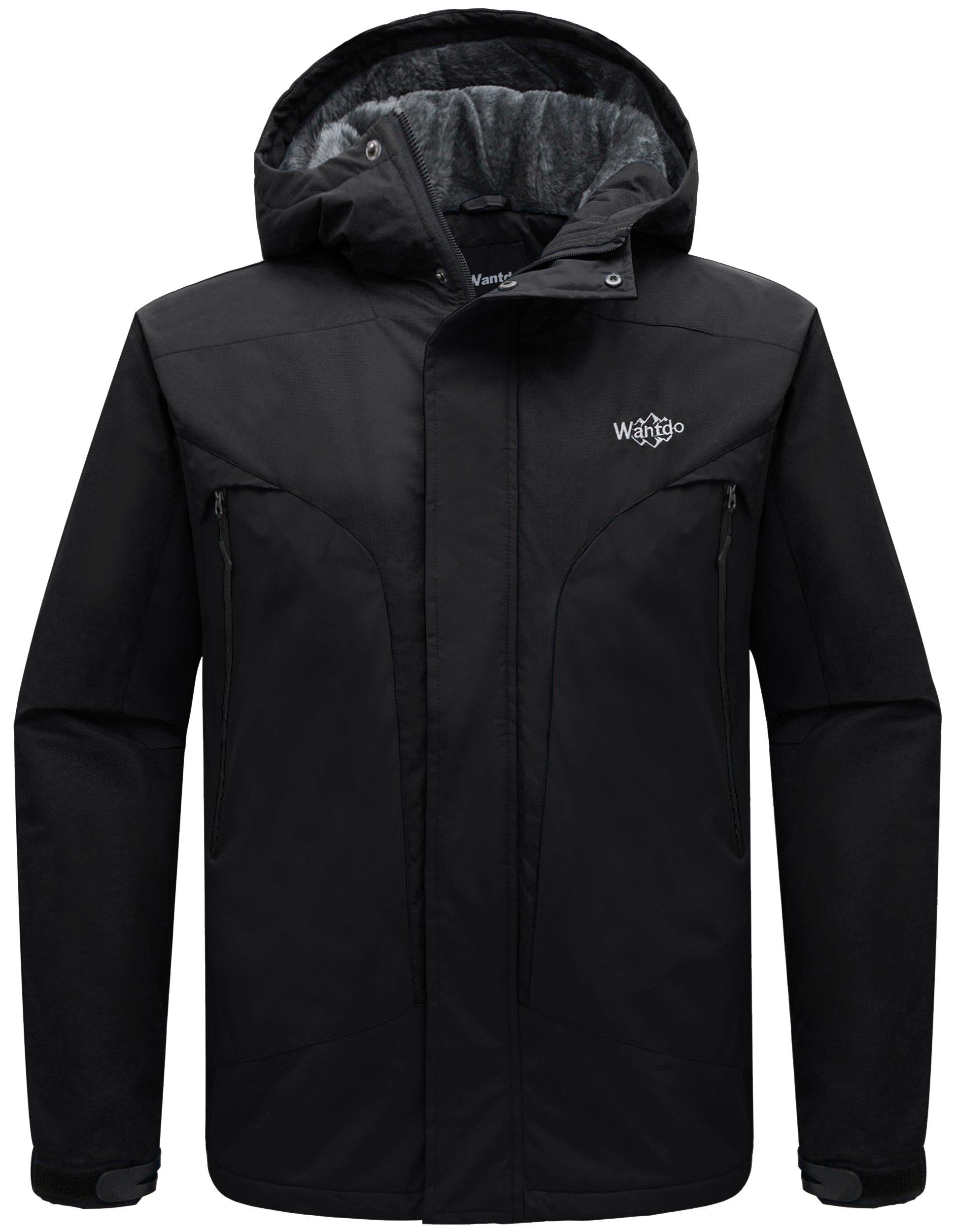 Wantdo Men's Detachable Hood Waterproof Rain Jacket Fleece Windproof Ski Jacket Black US Medium