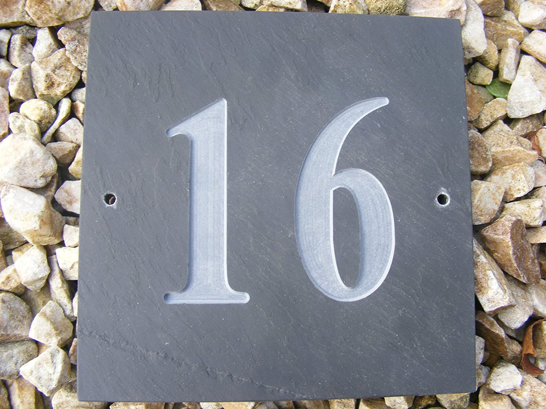 Número 16 NATURAL gris pizarra casa sinecura 15, 24 cm x 15 ...