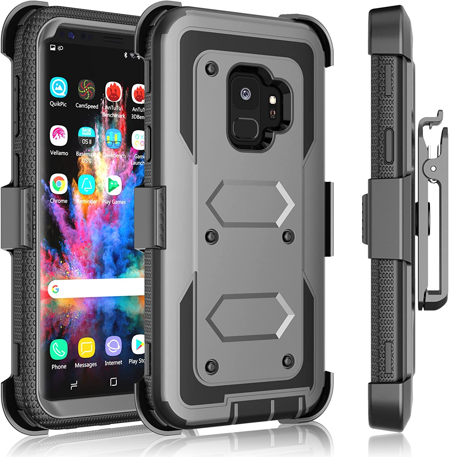 Galaxy S9 Plus Case, Samsung Galaxy S9 Plus Holster Clip, Tekcoo [Tshell] Shock Absorbing [Ash Gray] Secure Swivel Locking Belt Defender Heavy Full Body Kickstand Carrying Tank Armor Cases Cover