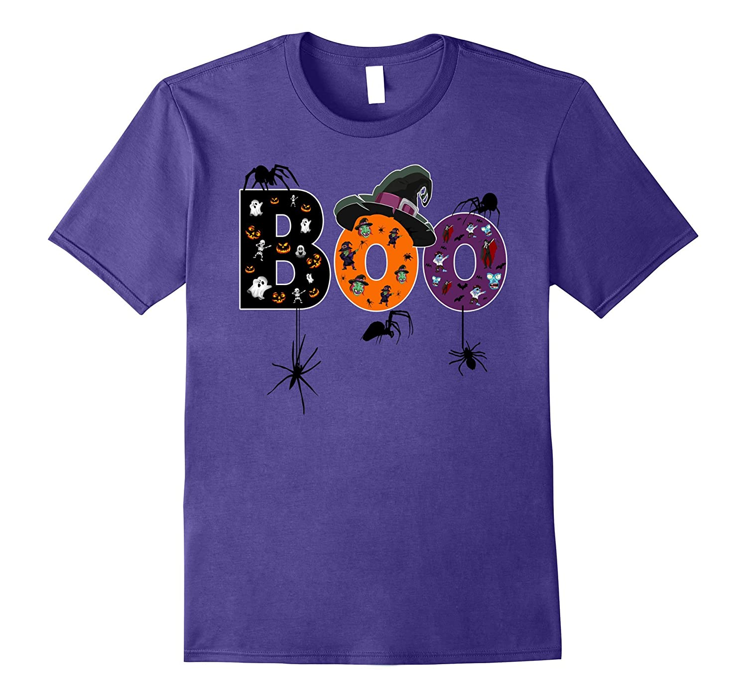 Awesome BOO Halloween t-shirt with spiders witches ghosts-TJ
