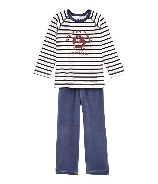 Petit Bateau - Pijama con Cuello Barco de Manga Larga para niño, Talla 2 años