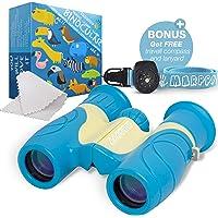 Marppy 8X21 儿童双筒望远镜,高分辨率真实光学防震双筒望远镜玩具,男孩和女孩,观鸟,户外玩耍,儿童双筒望远镜套装
