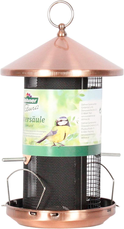 Dehner Natura nero//rame altezza 31 cm /Ø 20 cm metallo Mangiatoia per uccelli selvatici Venuto