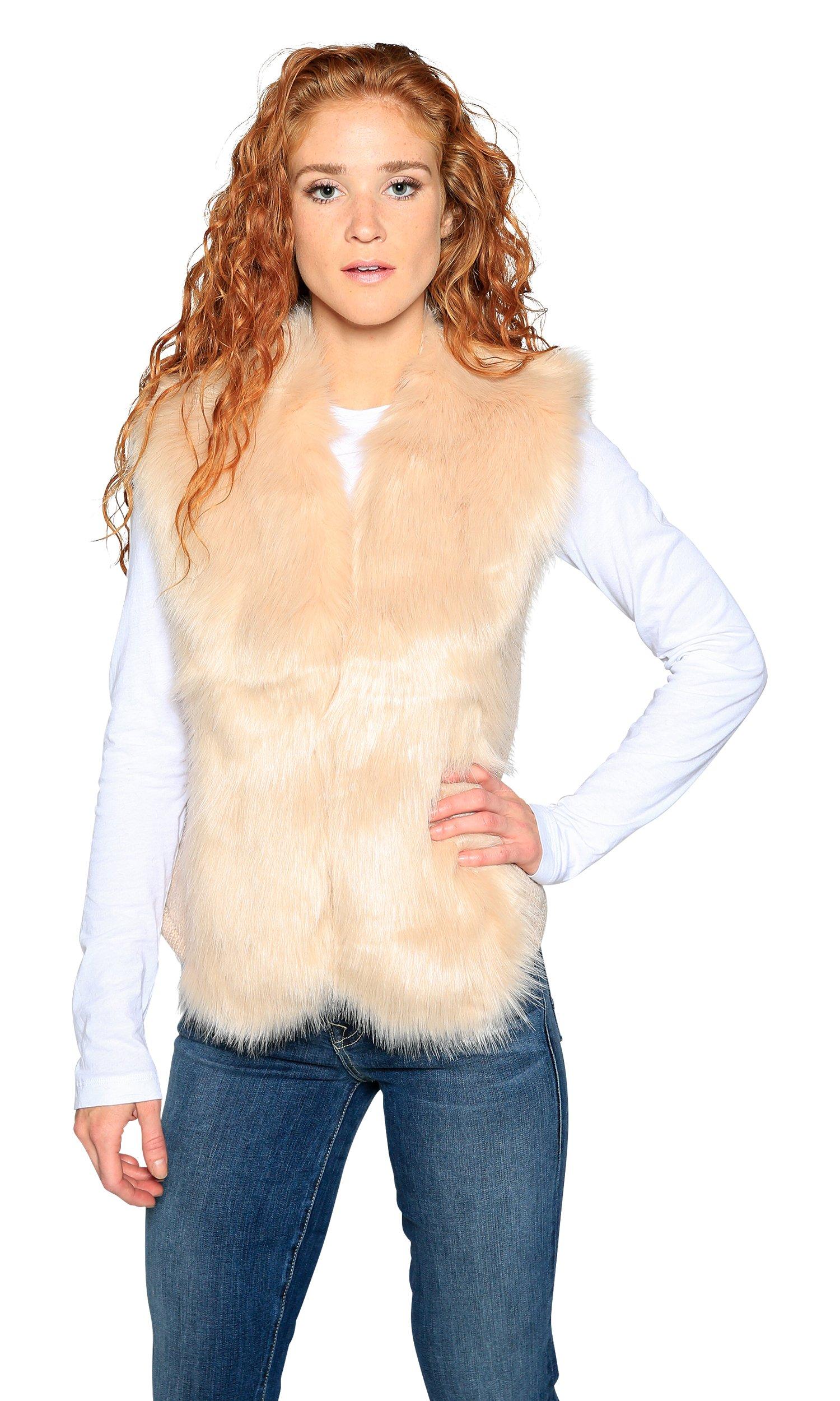 Love Token Alexandra Faux Fur Front Vest, Blush, M