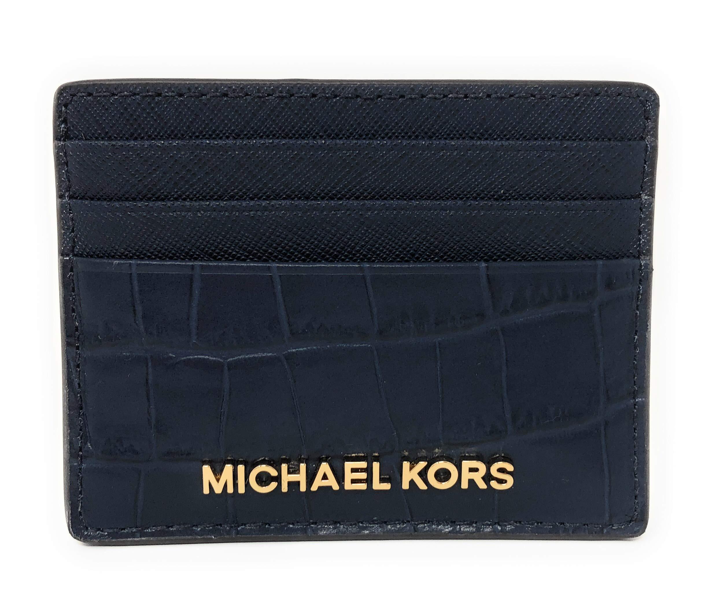 Michael Kors Jet Set Travel Credit Card Holder Case Embossed Leather (Navy) by Michael Kors