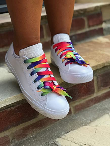 Various Styles Funky Flat Shoe Laces Shoelaces Colours Trainers Sneakers UK