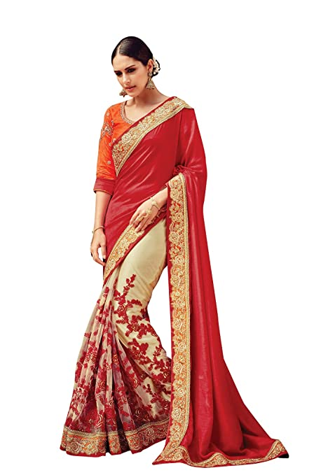 6ffd2e0d0f31 Designer Bollywood Indian Red Sari Embroidered Dupion Net Party Wear  traditional Saree available at Amazon for
