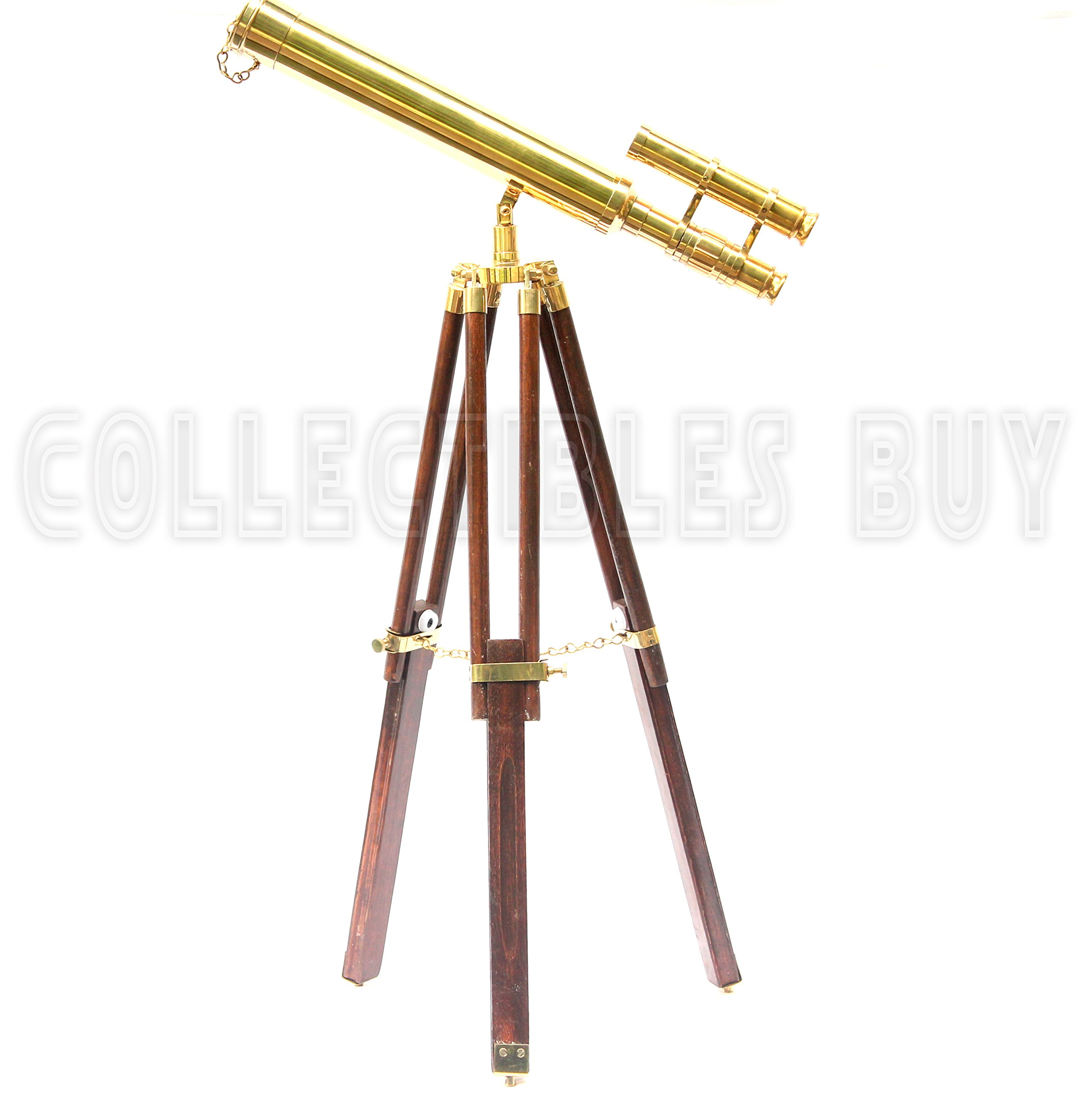 collectiblesBuy Vintage Solid Brass Nautical Port Marine Navy Telescope Single Barrel Brass Finish & Brown (Double Barrel Telescope (Height:26'' inches))