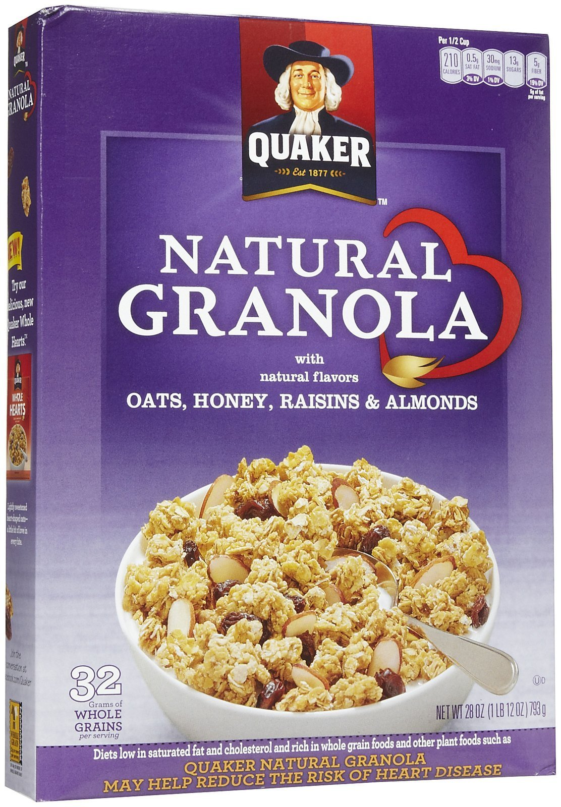 Quaker 100% Natural Cereal w/ Oats, Honey, Raisins & Almonds, 28 oz