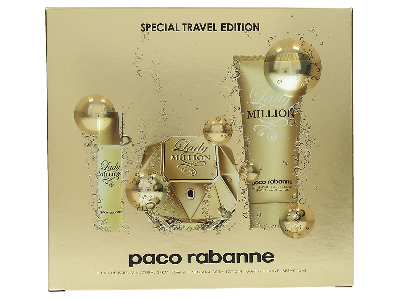 Paco Rabanne Lady Million 3 Piece Gift Set 2.7oz Eau de Parfum Spray 3.4oz Body Lotion 15ml Purse Spray