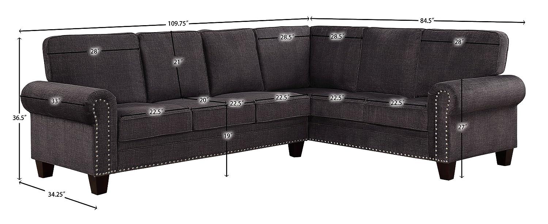 Awesome Homelegance Cornelia 110 X 85 Fabric Sectional Sofa Gray Pabps2019 Chair Design Images Pabps2019Com
