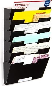 Wallniture Lisbon Wall File Holder Organizer for Office Organization and Storage, 6-Tier Magazine Holder Metal Black