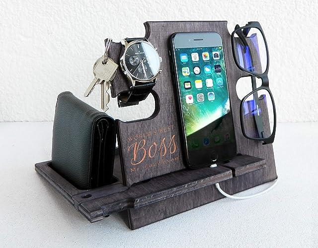Amazon.com: Best Boss Engraved Wooden Docking Station, Corporate Gift for Men - Desk Organizer for Devices: Handmade