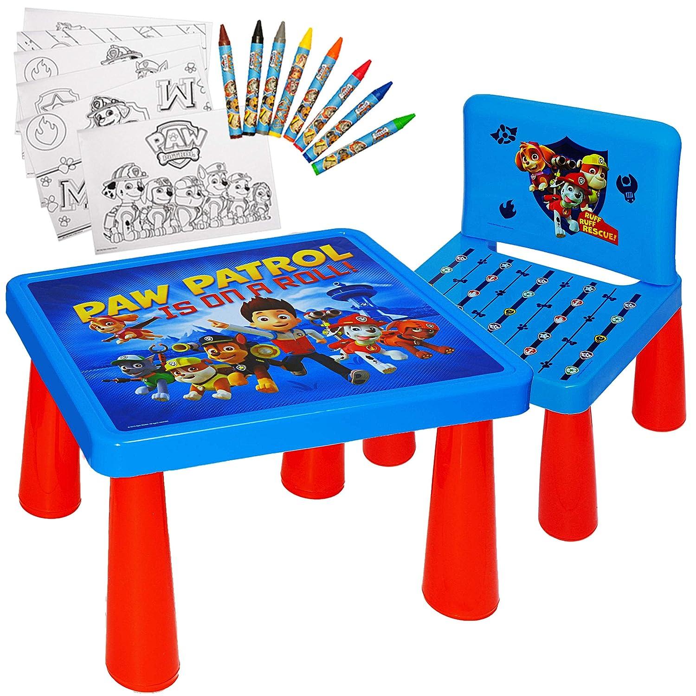 alles-meine.de GmbH Set: Tisch & Stuhl - incl. Malvorlagen + Stifte -  Paw Patrol - Hunde  - inkl. Name - Maltisch / Zeichentisch / Schreibtisch / Spieltisch - fü r Kinder aus K..