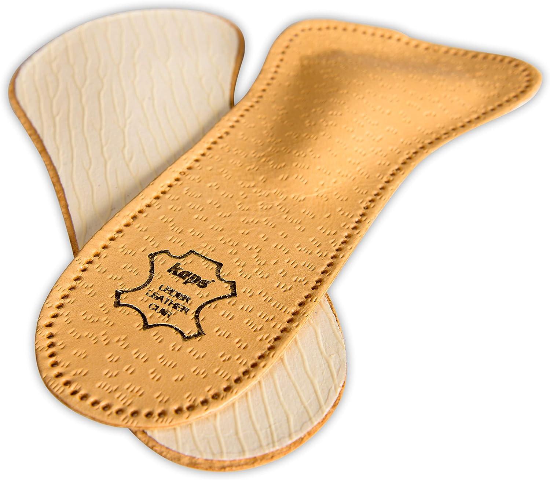 Kaps Plantillas Zapatos Ortopédicas de Cuero de 3/4 para Mujeres, Reducen las Molestias y Previenen el Dolor en el Antepié Con Soporte Para el Arco Metatarsiano, Todos los Tamaños