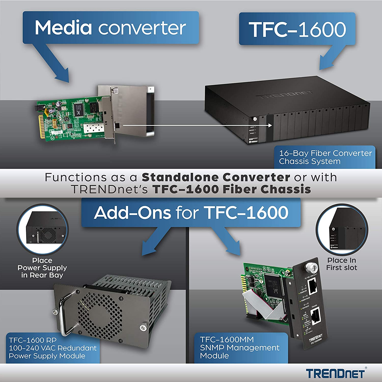 70 Km // 43.5 miles Lifetime Protection TFC-1000S70 TRENDnet Intelligent 1000Base-T to 1000Base-FX Single Mode SC Fiber Converter