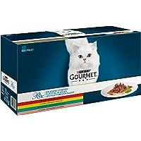 Purina Gourmet, Perle, pregiato cibo per gatti, pollo, manzo, salmone e coniglio, cibo umido di alta qualità, 60 pezzi x 85 g per ogni bustina