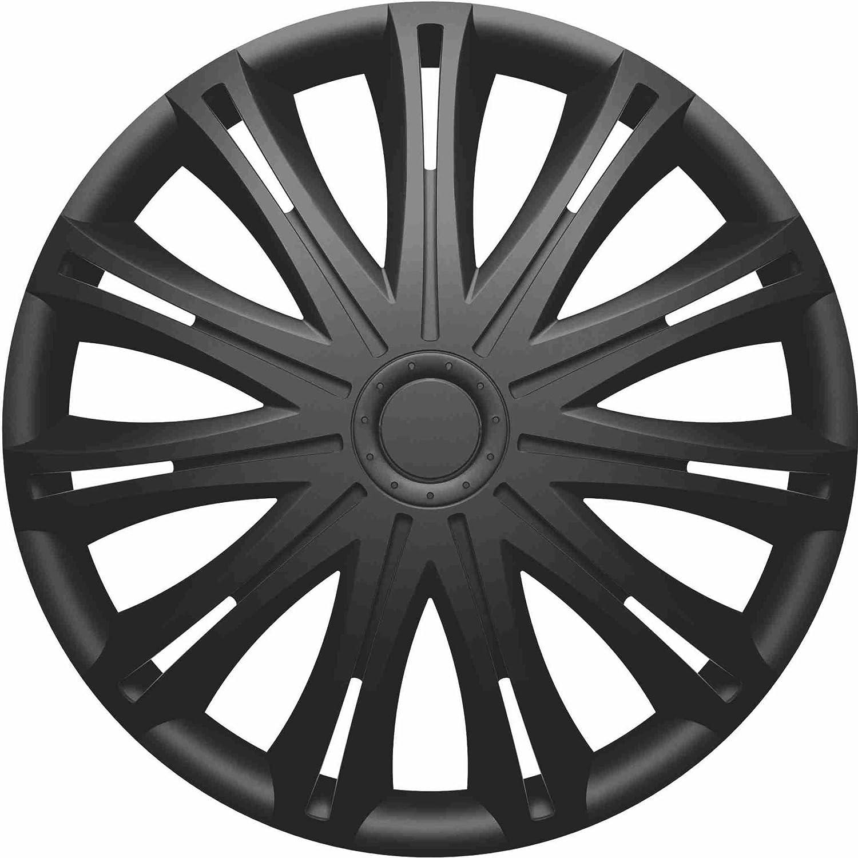 RAU 560.18 Copri Cerchio , Coprimozzo Spark (Adatto a tutti gli standard) 14 pollici , per ruote in acciaio, Nero, 4 pezzi RAU560.18