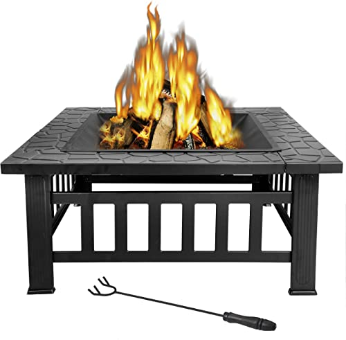 ZenStyle 32 Heavy Duty Square Fire Pit Outdoor Metal Firepit Wood Burning Fireplace w/Waterproof Dust Cover Patio Backyard Garden Stove Faux-Stone Finish