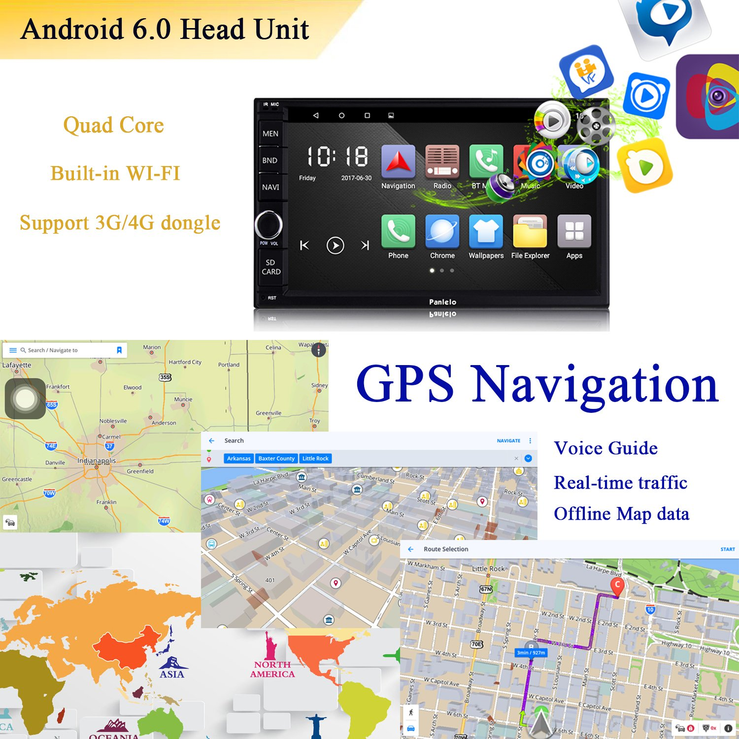 Panlelo PA012s Android 6.0 Car Stereo Double Din Car GPS Navigation 7 inch Car Radio Head Units Touch Screen BT WIFI Mirror Link SWC Quad Core 1GB RAM 16GB ROM AM/FM/RDS by Panlelo (Image #5)