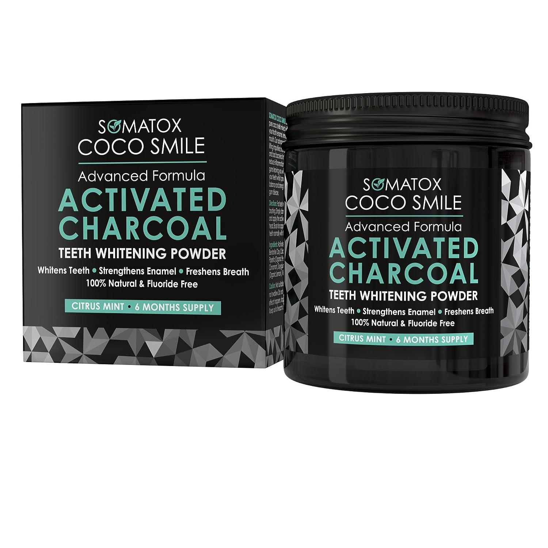 SOMATOX COCO SMILE - Carbón Activado Grado Prémium - Polvo Blanqueador de Dientes - 90gr (para 6 meses) | Sabor menta cítricos • Mejor que las tiras y gel ...
