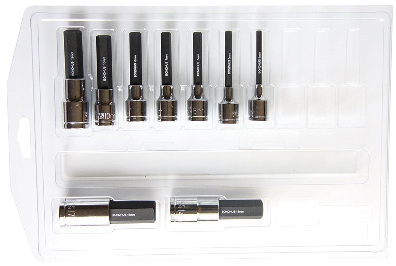 Bondhus 43298 4-17mm 2-Inch ProHold Socket Bits with Sockets, Set of 9