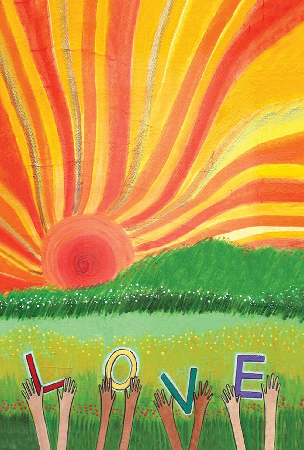 Toland Home Garden Sunset Love 28 x 40 Inch Decorative Colorful Spring Summer Sun Field Hands House Flag