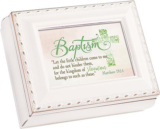 Baby Baptism Cottage Garden Inspirational Ivory Tiny Square Treasure Box