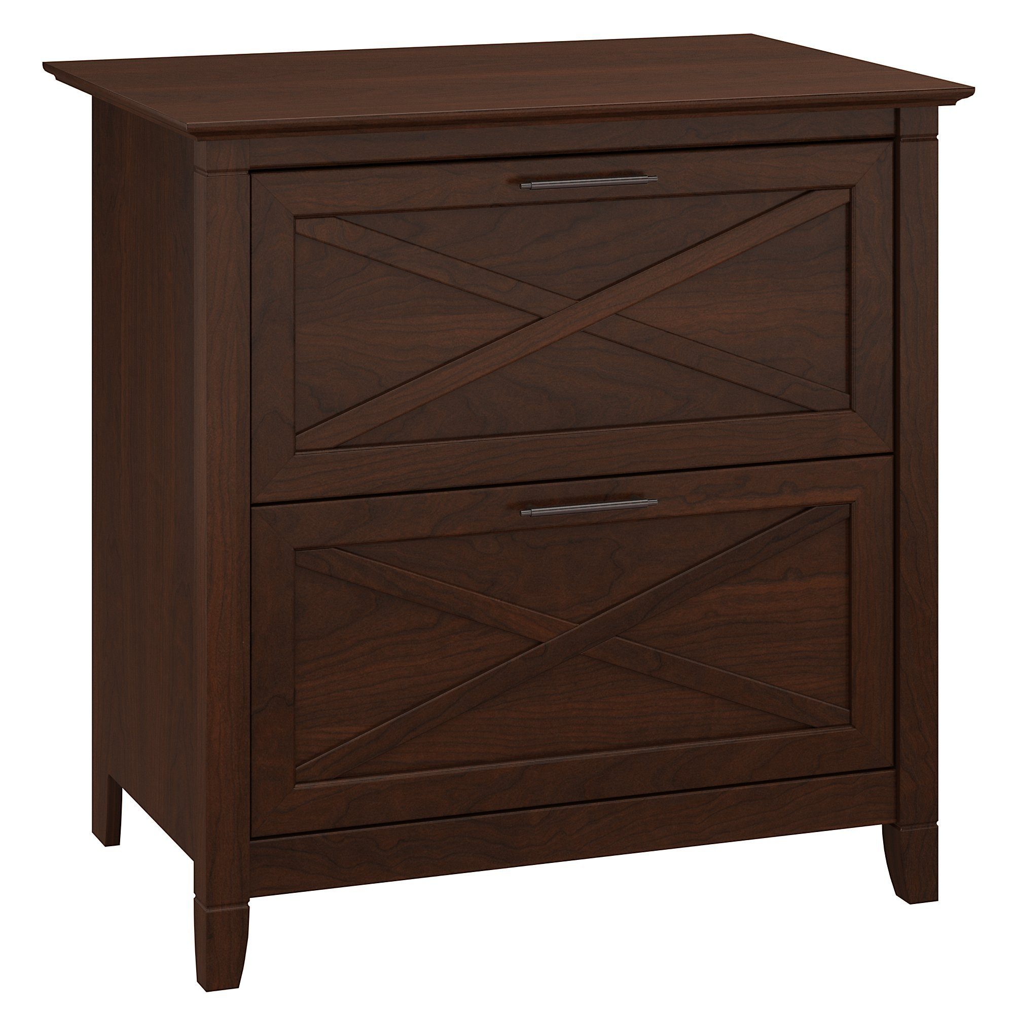 Bush Furniture Key West 2 Drawer Lateral File Cabinet in Bing Cherry by Bush Furniture
