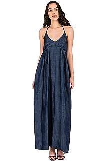 Standards /& Practices Plus Size Womens Tencel Denim Sleeveless Henley Maxi Dress