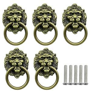Tegg Lion Head Pull Handle 5PCS Ancient Bronze Chinese Style Lion Head Pull Handle with Knob Ring for Furniture Door Cabinet Dresser Drawer Cupboard Closet Door Handles Knobs